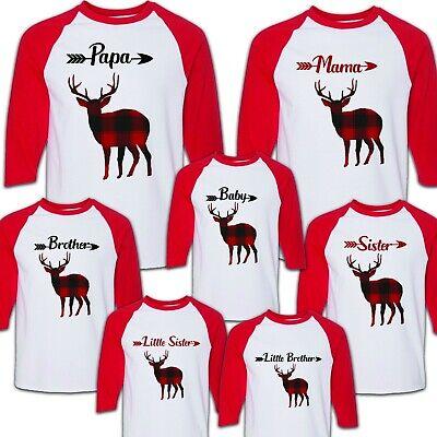 Buffalo Plaid Deer Rustic Christmas Birthday Matching T-shirts Party Family