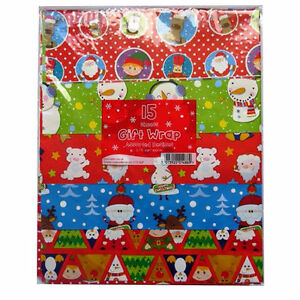 Christmas Gift Wrap Design.3 X 15 Sheets Assorted Designs Cute Traditional Christmas Gift Wrapping Paper