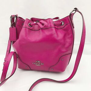 8de214a786 Image is loading NWT-Coach-Baby-Mickie-Leather-Drawstring-Crossbody-Shoulder -