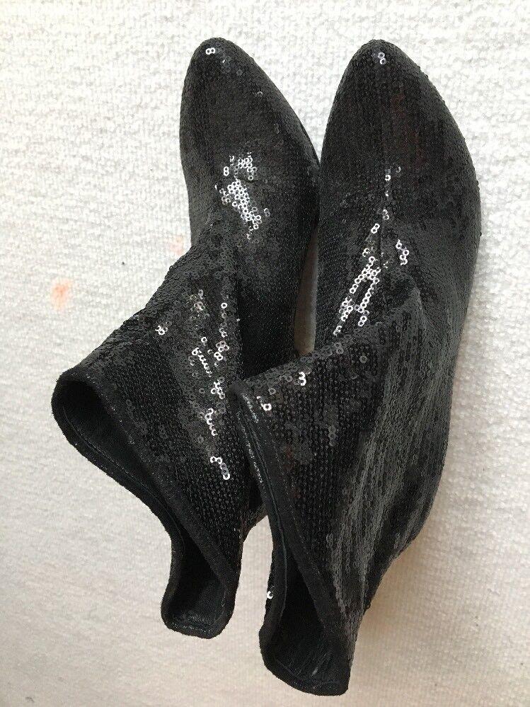 Oasis Pailletten Größe Stiefeletten Größe Pailletten 39 Schwarz Neu 22366a