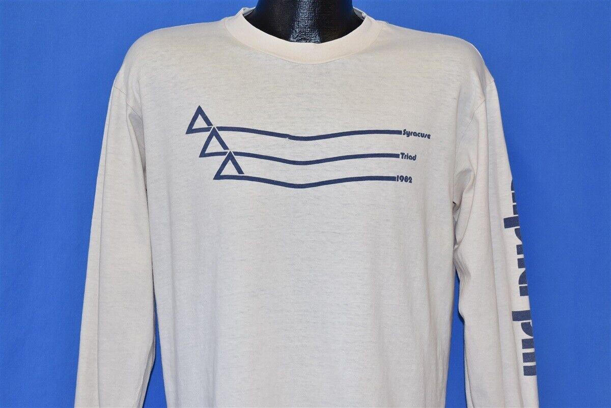 vintage 80s ALPHA PHI SYRACUSE TRIAD 1982 LS OFF WHITE SORORITY t-shirt LARGE L