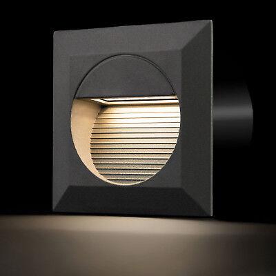 LED Wandeinbauleuchte Treppenleuchte eckig Innen Außen IP65 A warmweiß Einbau