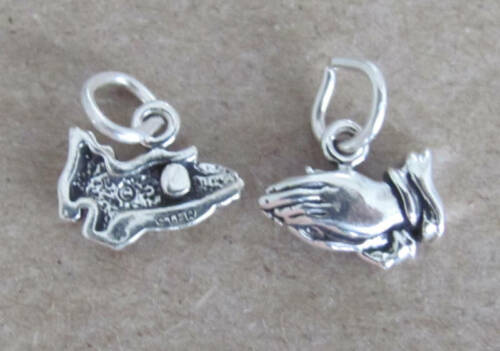 Small Sterling Silver Praying hands miniature charm.