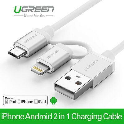 UGREEN 2 in 1 MFI Lightning 8pin to Micro USB Charger Cable for iPhone Adroid