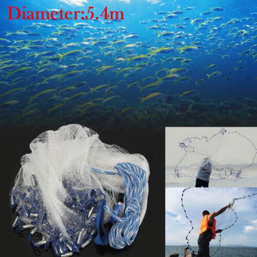 Ø 5.4m Wurfnetz Fischernetz Fisch Gussnetz Abfischen Multifilament mit Sinker DE