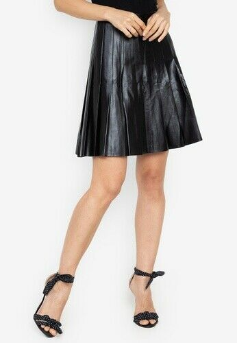Joe Fresh Pleated Shiny Faux Leather Skirt SIZE 12 NWT