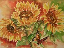 Sunflower flower Exotic Butterfly insect Watercolor print