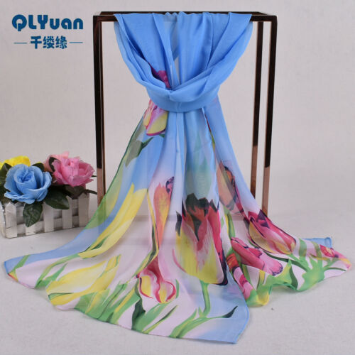 160 50cm Tulip Flowers Floral Fashion Ladies Scarves Chiffon Womens Shawls X302