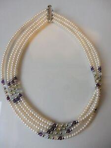 Edle-Perlenkette-4reihig-Suswasserperlen-Amethysten-925-Silber-Neu