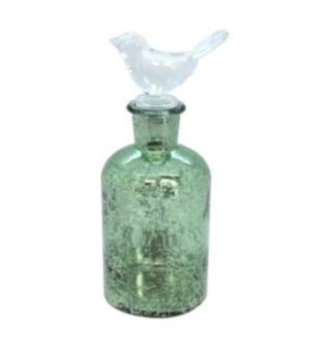 GREEN LUSTRE GLASS BIRD TOP BOTTLE BY GISELA GRAHAM 17x7cm