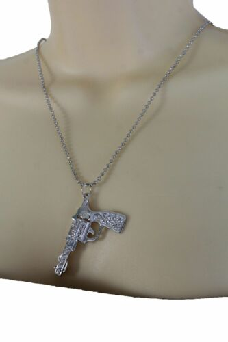 New Women Turquoise Blue Beads Chains Necklace Western Metal Pistol Gun Pendant