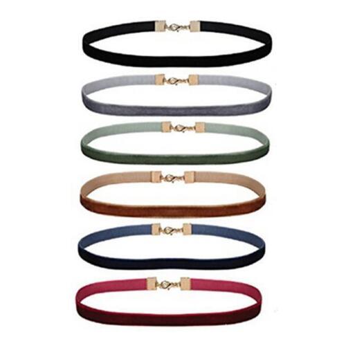 6Pcs//Set Gothic Choker Set Black Velvet Leather Necklace Simple Choker MA