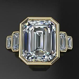 Bezel Set Wedding Engagement Ring 14k Yellow Gold Finish 3Ct Radiant Cut Diamond