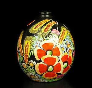 Blés Et Pâquerette Vase Boule à Décor Floral Coloré Années 60's H : 18 Cm