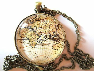 "Globe earth ancient graphic of map 1.5"" round glass pendant necklace w/chain"