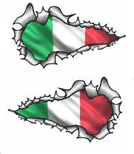 LONG Handed Pair Ripped Open Torn Metal Italy Italian Flag vinyl car sticker