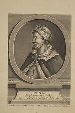 Gravure XVIII René (d'Anjou) Roy de Naples de Sicile Aubert graveur , Odieuvre