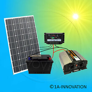 komplett 220v solaranlage akku 100ah 100w solarpanel 1000w camping watt garten ebay. Black Bedroom Furniture Sets. Home Design Ideas