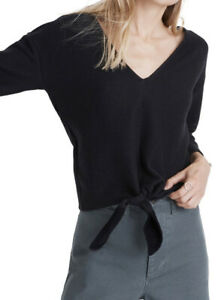 New-Madewell-M-Texture-amp-Thread-Tie-Front-Long-Sleeve-Top-True-Black-NWT