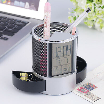 Digital LCD Alarm Clock Mesh Pen Holder Container Time Temp Calendar Gift BE