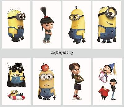1-60 Despicable Me Minion Cartoon Temporary Tattoos Kids Party Favors Bag Filler