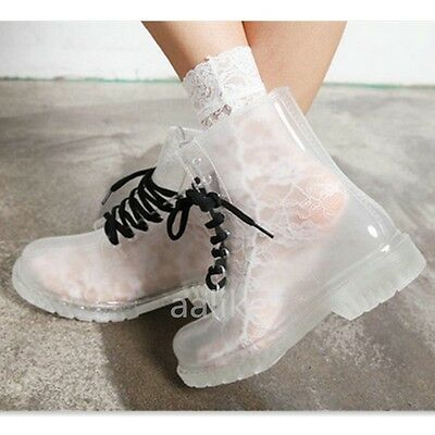 New Women Flat Transparent Clear Rubber Rain Boots Lace Up Martin Ankle Boots