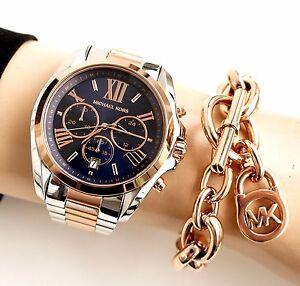 Damenuhren michael kors rosegold  Michael Kors Uhr Damenuhr MK5606 BRADSHAW XL BiColor Farbe:Silber ...