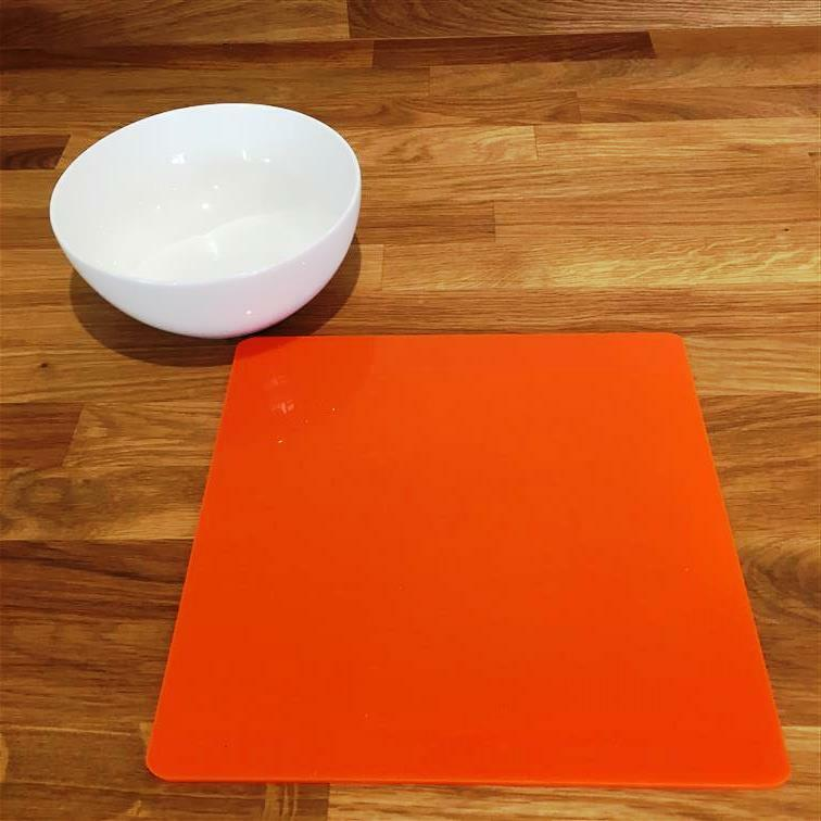 Square Shaped Orange Gloss Acrylic Placemats, Sets 4 6 8, Größe 9  or 12