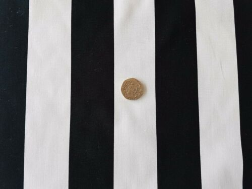 High Quality 100/% Cotton Poplin Fabric 150cm Wide Wide Black /& White Stripe