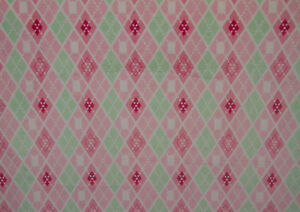 Image Is Loading Argyle Minky Fabric Pink Amp Mint By The