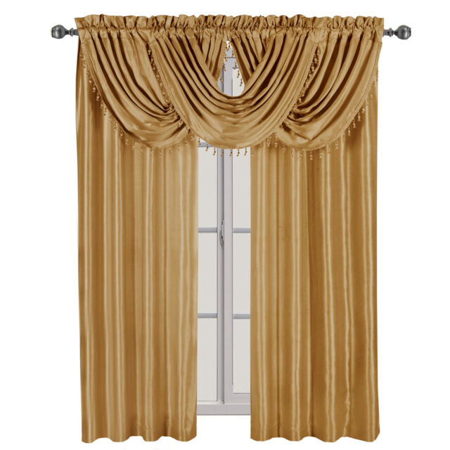 """48/""""X 38Inch 1 piece Solid White Valance Faux Silk Rod Pocket With Tassels"""