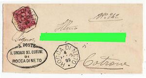 Annullo-Collettoria-Rocca-di-Neto-viaggiata-per-Cotrone-nel-1899