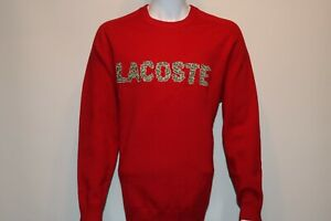 Lacoste-Mens-Pullover-Sweatshirt-Size-4x-Red-Big-Lacoste-Logo-034-msrp-198-00-New