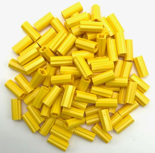 Lego 100 New Yellow Technic Axle Connector 2L Smooth with x Hole Orientation