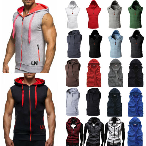 Men Sleeveless Hoodie Vest Coat Sport Gym Hooded Sweatshirt Sweater Outwear Tops
