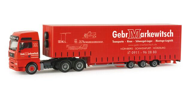 Herpa 155595  MAN MAN MAN TGA XXL Bulk Volume Semitrailer Makewitsch 1 87 Scale 6434f5