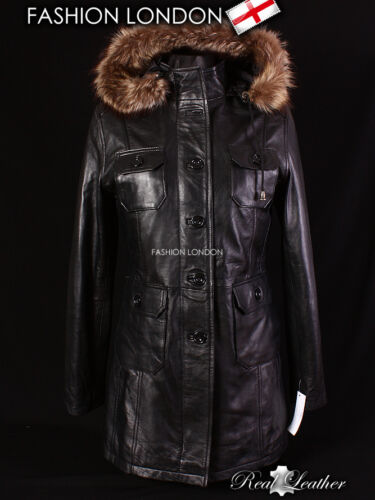 /'Alaska/' Donna Nero Parka con Cappuccio in Pelliccia Vera Pelle Giacca Cappotto Invernale 9940
