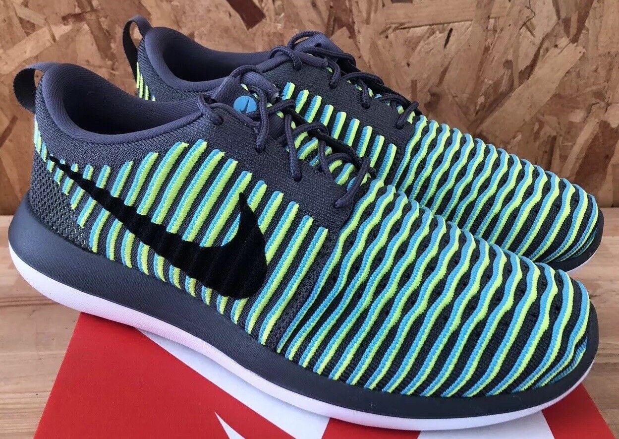 Nike Roshe Two Flyknit Dark Grey Black Gamma Blue Volt Sz 11 NIB 844833-004