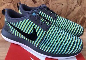 a3bbdf208ccb Nike Roshe Two Flyknit Dark Grey Black Gamma Blue Volt Sz 9.5 NIB ...