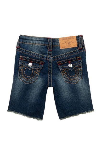 True Religion Slim Single End Shorts Little Boys Blue Grease Size 6R New NWT Aut