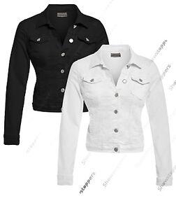 NEW-DENIM-JACKET-Women-Jeans-Waist-Stretch-Jackets-Black-White-Size-8-10-12-14