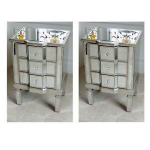 Details About Set Of 2 Small Mirrored Venetian Bedside Cabinets 3 Drawer Side Lamp Table Units