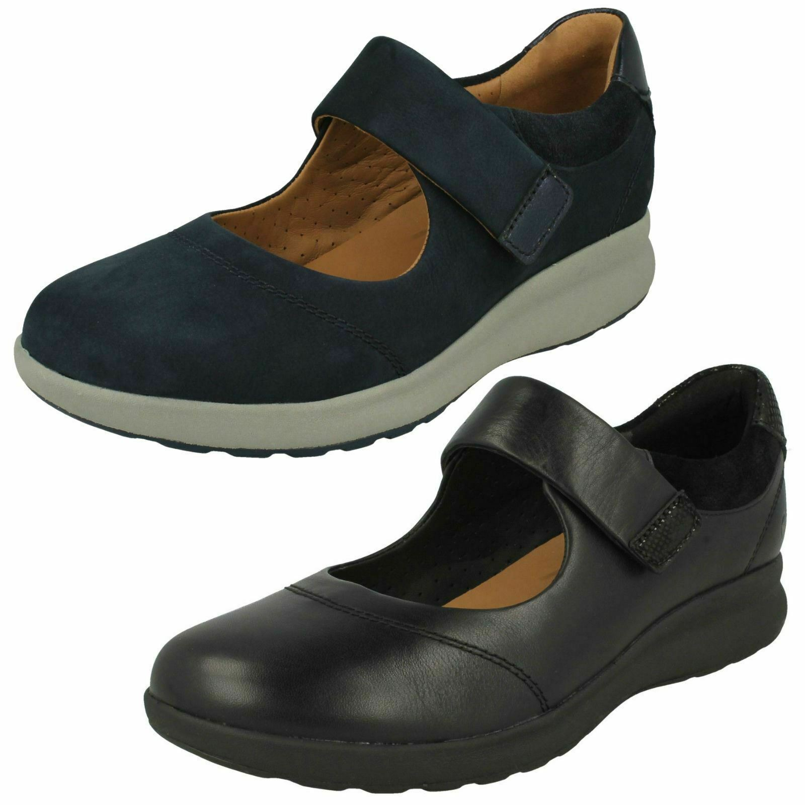 Ladies Clarks Unstructured  'Un Adorn Strap' Casual Leather shoes - D Fitting
