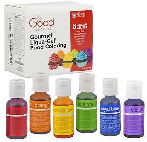 Food Coloring Liqua GEL 6 Color Rainbow Kit in .75 Fl. Oz. 20ml ...