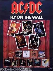 ac dc 1985 fly on the wall promotional poster original ebay. Black Bedroom Furniture Sets. Home Design Ideas