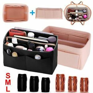 3-Sizes-Multi-Pocket-Insert-Bag-Felt-Fabric-Purse-Handbag-Bag-Tote-Organizer-US