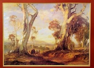 Vtg Original Lithograph Print Hans Heysen Australian Of Red Gold Painting 1913