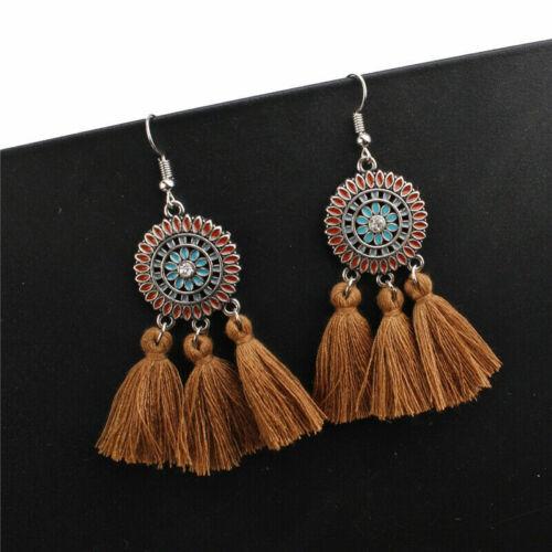 Hot Women Bohemian Long Tassel Fringe Hook Drop Dangle Ear Stud Earrings Holiday