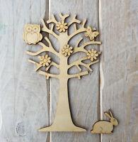 Wooden Tree with Owl & Embellishments Fairy Garden Fairy Scene