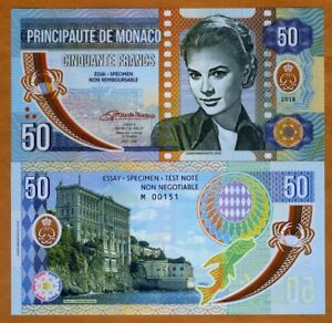 Monaco-50-Francs-2018-Private-Issue-Clear-Window-Polymer-gt-Grace-Kelly